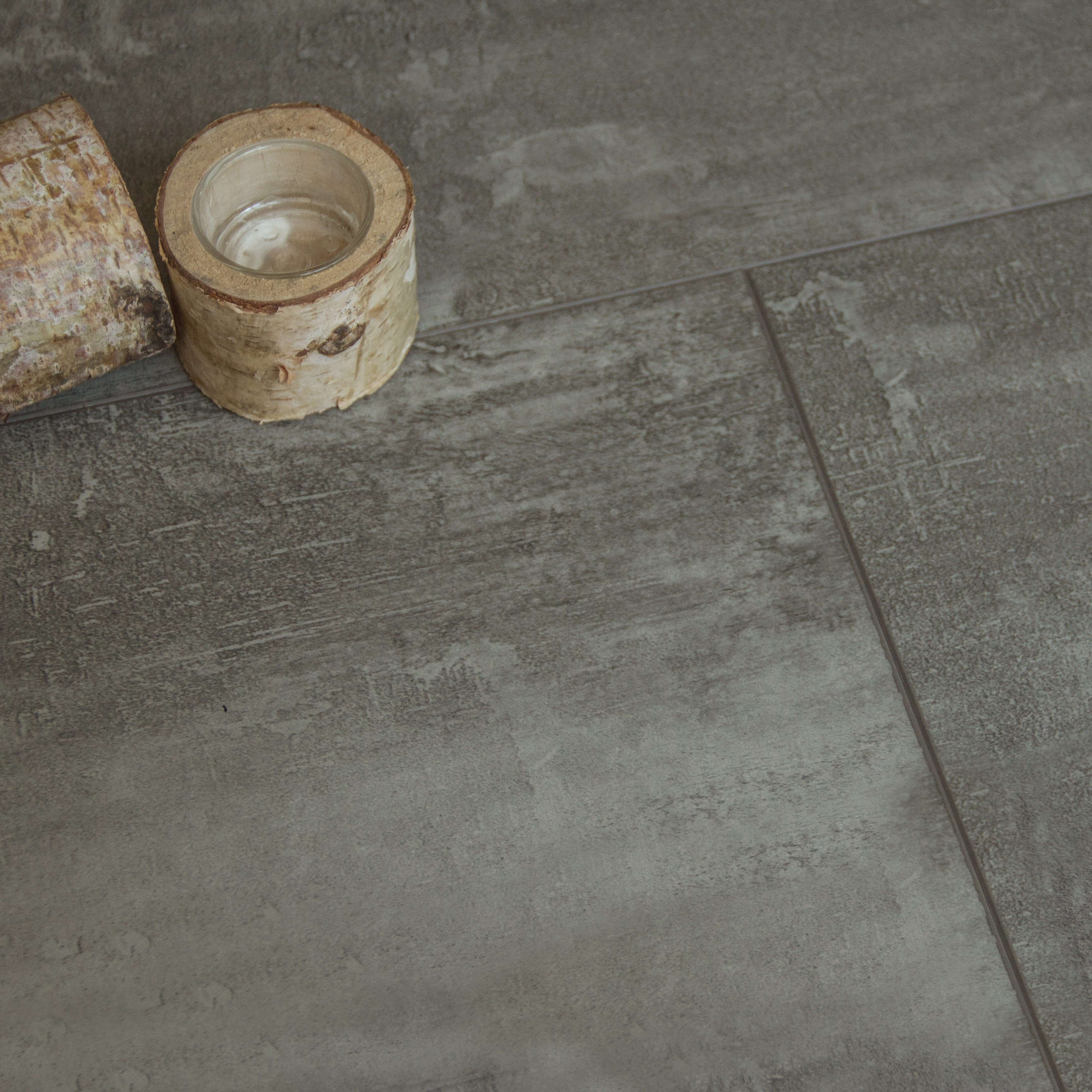 Nest Rigid Core Grey Slate Tile Effect Lvt Flooring 5mm Thick
