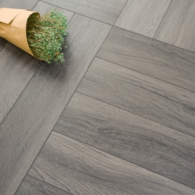 Nest Rigid Core Smart Grey Herringbone Luxury Vinyl Flooring - 5mm Thick