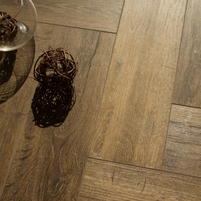 Nest Rigid Core Honey Brown Herringbone Luxury Vinyl Flooring - 5mm Thick