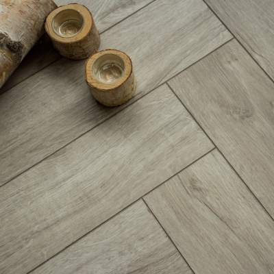 Nest Rigid Core Light Brown Herringbone Luxury Vinyl Flooring - 5mm Thick