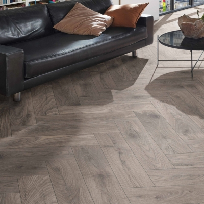 Nest 10mm Ironmill Oak Herringbone Laminate Flooring