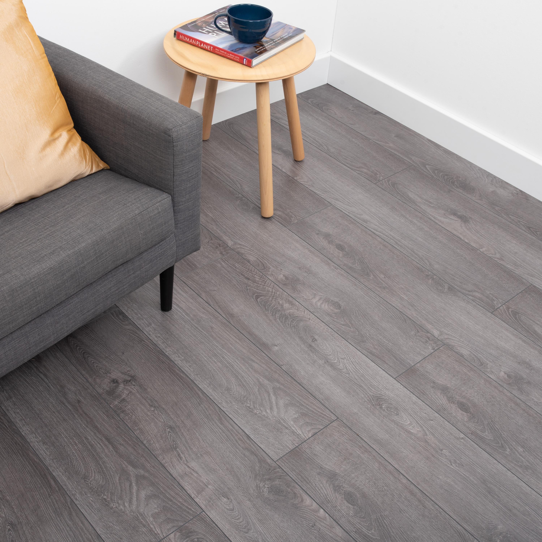 Nest 12mm Smokey Oak Laminate Flooring, Smokey Grey Laminate Flooring