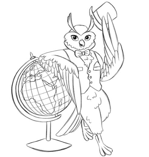 Luxury Flooring Owl Leaning on Globe